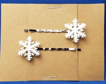 SNOWFLAKE Winter Bobby PIn Hair Clip Accessory - Set of 2 Handmade