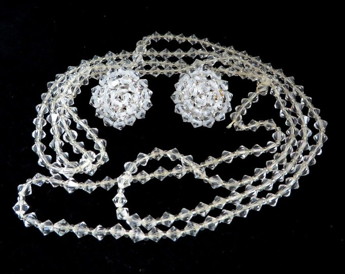 Crystal Jewelry Set, Vintage Beaded Jewelry, Plastic Jewelry Set, Flapper Necklace, Cluster Earrings, Antique Jewelry, Gift For Her