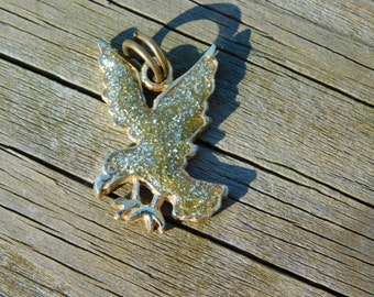 Vintage Costume Jewelry Puffy Metal Flake Eagle Pendant for Repurpose