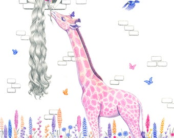 Rapunzel and the Pink Giraffe, Giclee Print, A3, illustration, children's room decor, wall art