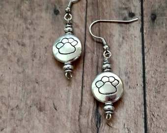 Round Paw Print Dangle Earring