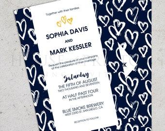 Hand Drawn Hearts Wedding Invitations, Modern Wedding Stationery Set