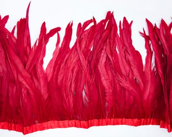"Red 10"" - 12"" FRINGE coque rooster tail  feathers"