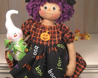 PDF E Pattern Primitive Raggedy Doll Witch Ghost Halloween Country Folk Art Cloth Doll Sewing Craft #44