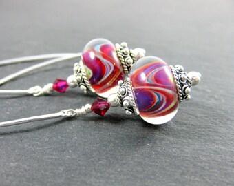 Sterling Silver Dangle Earrings, Glass Drop Earrings, Purple Pink Yellow Blue Earrings, Boro Lampwork Earrings, Modern Earrings Contemporary