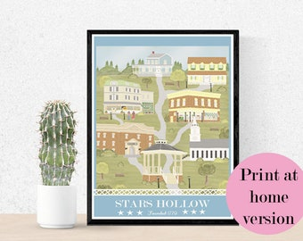 Gilmore Girls poster - Gilmore girls art print - Stars Hollow poster - Printable Gilmore Girls Poster - Gilmore Girls print