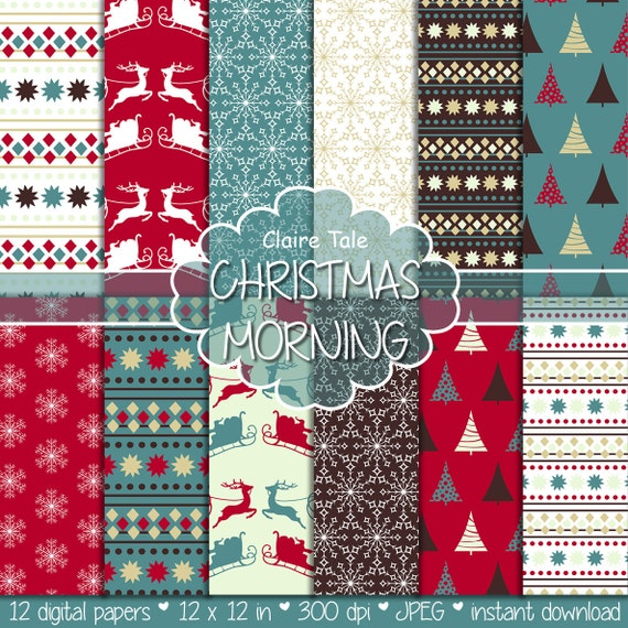 "Christmas digital paper: Christmas paper ""CHRISTMAS MORNING"" backgrounds with deers, santa, snowflakes, christmas trees"