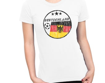 DEUTSCHLAND GERMANY Ladies T-Shirt FOOTBALL World Cup 2018 Womens Retro Circle Flag