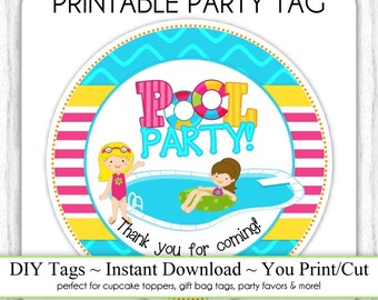 INSTANT DOWNLOAD - Printable Pool Party Birthday Tag, Printable Party Tag, Cupcake Topper, you print, you cut, DIY pool party labels
