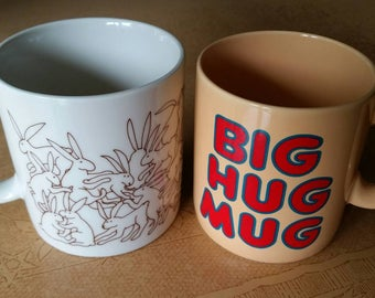 Pair of Vintage Mugs - Big Hug Mug and Taylor & Ng Animate Rabbit Mug - Fantastic Condition!