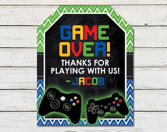 Video Game Gamer Printable Party Thank You Favor Tag (PDF File only)