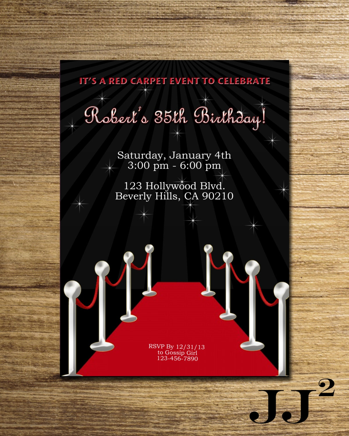 Red Carpet Birthday Party Invitation/ Glam Hollywood