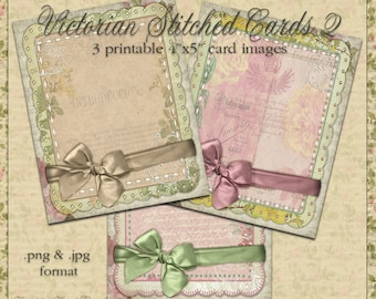 Victorian Stitched Cards 2 - Printable Digital Images for Scrapbook & Paper Crafts
