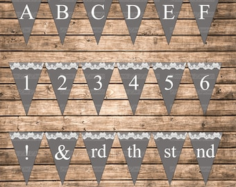 DIY Instant Download Solid Gray and Lace Printable Alphabet Letters Numbers Abbreviation Punctuation Marks Banner Bunting Pennant Sign