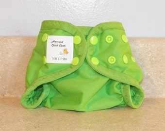Preemie Newborn PUL Diaper Cover with Leg Gussets- 4 to 9 pounds- Spring Green- 20023