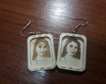 Pesonilized earrings, wooden earrings, personilized wooden earrings, custom earrings, gift for her