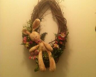 Primitive spring bunny wreath,bunny wreath,spring wreath,spring decor.spring wreath.spring door hanger