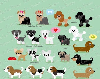 Dog Clipart, Puppy Clipart , cute dogs clip art, puppy clipart, (A011) /For Personal and Commercial Use/ INSTANT DOWNLOAD