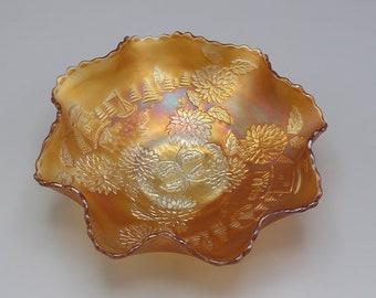 Vintage Marigold Chrysanthemum and Windmills by Fenton Carnival Glass Bowl