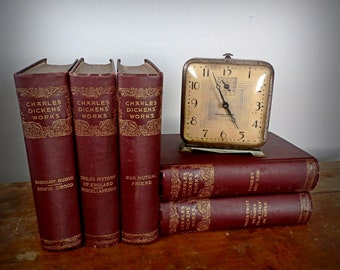Antique Charles Dickens' Works Book Collection, 5 Volumes 1890s