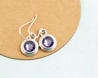 December Birthstone Earrings - Sterling SIlver Birthday Stone Jewelry - December Birthday Gift - Tanzanite Earrings - Mom's Birthday Gift