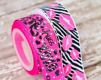 "7/8"" Hugs & Kisses XOXO Zebra Print Lips PINK - U.S. DESIGNER - High Quality Grosgrain Ribbon - 5yd Roll"