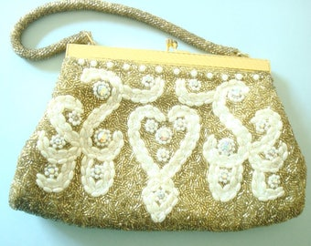 Gold & white beaded evening bag, rice pearls and rhinestones, mid-century vintage purse, satin lining, gorgeous condition, classic design