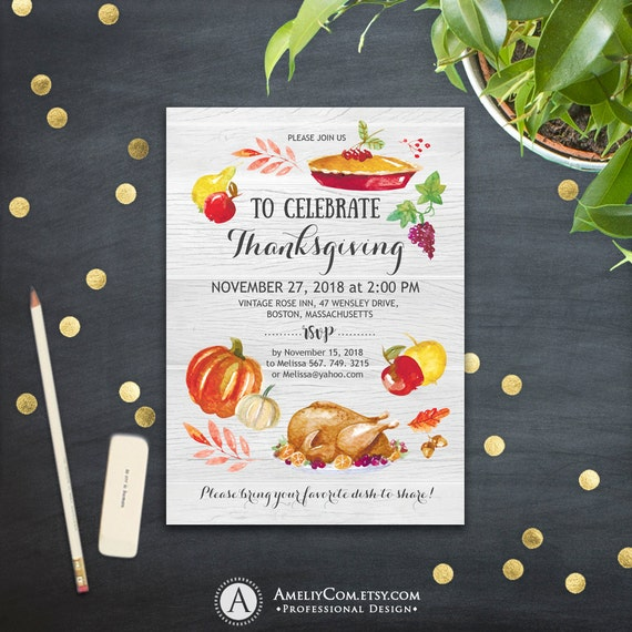 items similar to thanksgiving dinner invitation printable