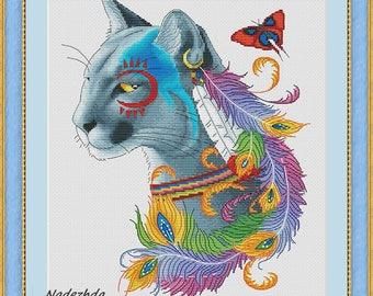 Indian cougar Cross Stitch Pattern Animal pattern Modern cross stitch pattern PDF Embroidery room wall decor
