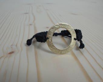 Gold plated circle thread bracelet | Gold plated circle macrame bracelet