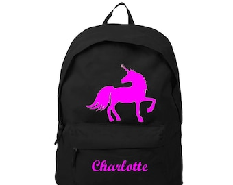 Backpack black Unicorn personalized with name