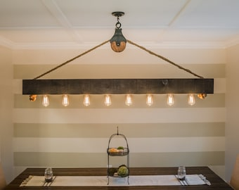 Edison chandelier etsy 6 ft rustic beam edison bulb chandelier with vintage barn pulley aloadofball Image collections