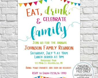 Printable Family Reunion Invitation, Summer Family Reunion, Reunion Invitation, Family Party, Summer Party, BBQ, Picnic, Family Barbecue