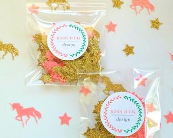 Unicorn Confetti, Pink and Gold Unicorn Confetti, Table Confetti, Birthday Confetti, Party Decorations, Unicorn Party, Confetti
