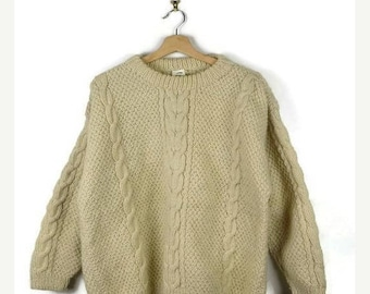 Winter Sale 40% Off Damaged Vintage Cable Knit Fisherman / Aran Style Wool Sweater from 1980's/Minimal