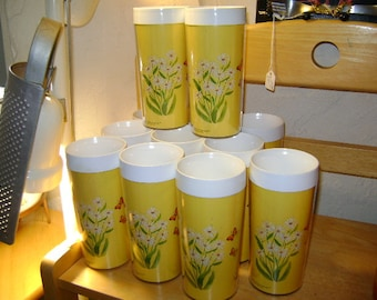 Butterfly & Daisies THERMO-SERV 12 oz tumblers~Eleven (11)~Clean interiors little or no staining