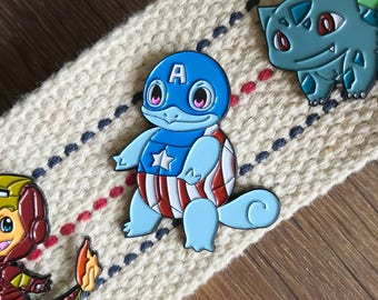 Squirtle Enamel Pin - Captain America Enamel Pin - Pokemon Enamel Pin - Avenger Enamel Pin - Disney Enamel Pin - Hat Pin - Lapel Pin