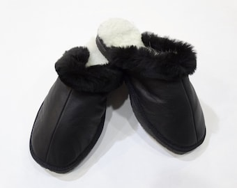 Leather Slippers,Black Slippers,Fur Slippers F451