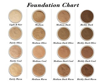 Sample Foundation 4 Shades - Mineral Makeup, Natural Cosmetics, Organic Makeup, non toxic, Waterproof Makeup