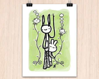 """9x12"""" Peace, Love and Bunnies (Color Print)"""