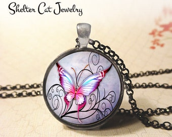 "Purple and Pink Butterfly on Swirls Pendant - 1-1/4"" Round Necklace or Key Ring - Handmade Wearable Photo Art Jewelry - Nature, Gift for Her"
