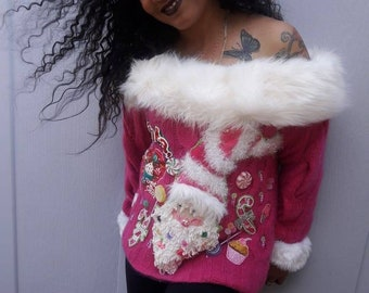 The Candy Man,... off shoulder, pinkalicious, santa, candy, fur trim, party, tacky, Christmas sweater