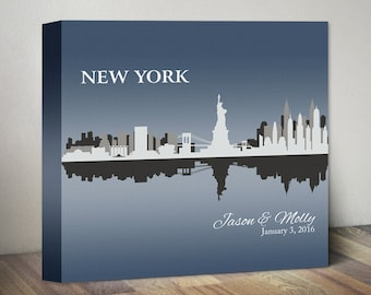 New York Skyline Wedding Gift Personalized New York City Wedding Skyline Canvas Art Print NYC Wedding NYC Bride NYC Engagement Any City Gift