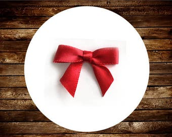 48 Mini RED Satin Bows - Ready for crafting