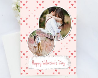Heart valentine card, Photo card, 5x7, valentine postcard, full photo, heart day, printable, PSD Photographer Template, Digital Scrapbooking