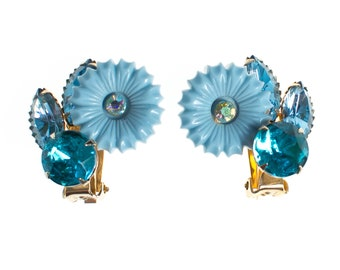 1950's Lucite Earrings, Blue Rhinestones, Clip On, Gold Tone