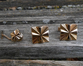 Vintage Abstract Cufflink & Tie Clip Set. 1960s. Gift For Dad, Groomsmen, Groom, Anniversary, Birthday. Gold Tone