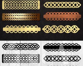 8 Cuff Bracelet Leather Jewelry Templates Vector Digital SVG DXF Cut Files Cuttable Download Laser Cutting Cricut Silhouette JB-1042