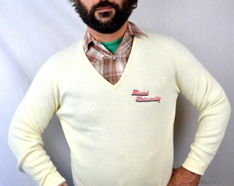 Vintage Logo 7 Miami Univeristy Pullover V Neck Preppy Sweater
