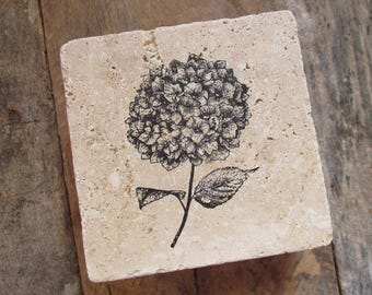 Natural stone coaster. Hydrangea Coasters.  Hostess gift. Thank you gift. Cottage Decor.  Set of Four Coasters. Gift. Mother's Day